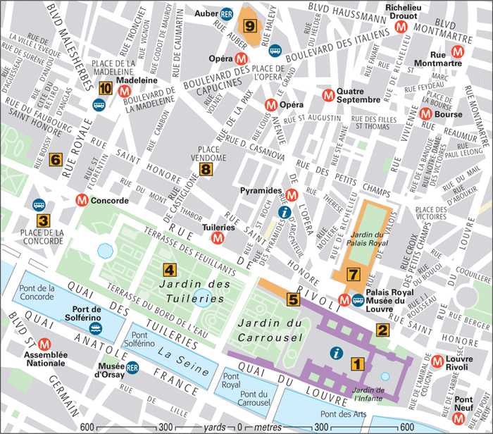 Paris Around Town Tuileries And Opéra Quarters Part - Paris map quarters