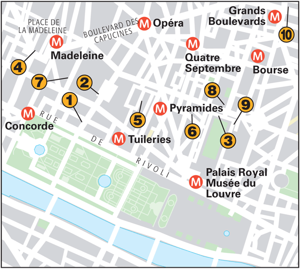 Paris Around Town Tuileries And Opéra Quarters Part Food - Paris map quarters