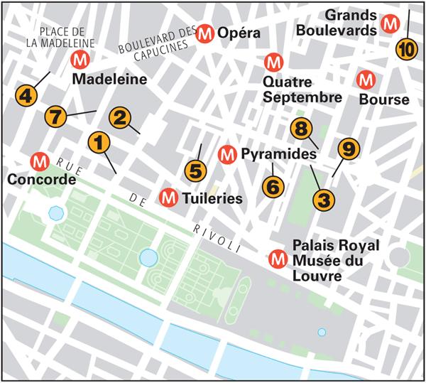 Paris Around Town Tuileries And Opéra Quarters Part Food - Paris map quarters