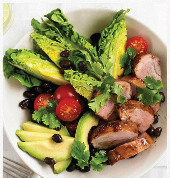 Description: Pork tenderloin salad with lime dressing