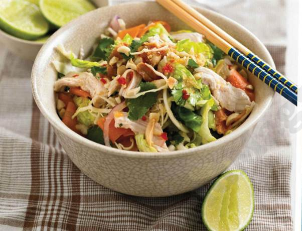 Description: Thai chicken salad with peanuts and ginger