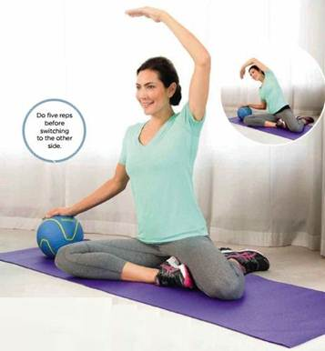 Description: This graceful move will help lengthen and strengthen your lateral oblique, the muscles that help form your waistline.