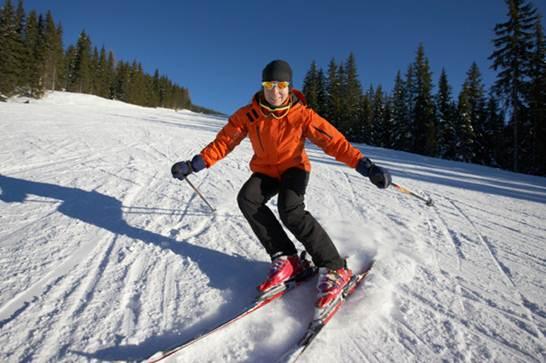 Description: Skiing can causes abdominal trauma.