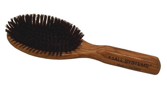 Description: Brush hair with a boar-bristle brush from temple to temple, then from back to front, and finally from front to back.