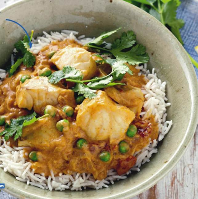 Fish, Tomato And Coconut Curry With Basmati Rice