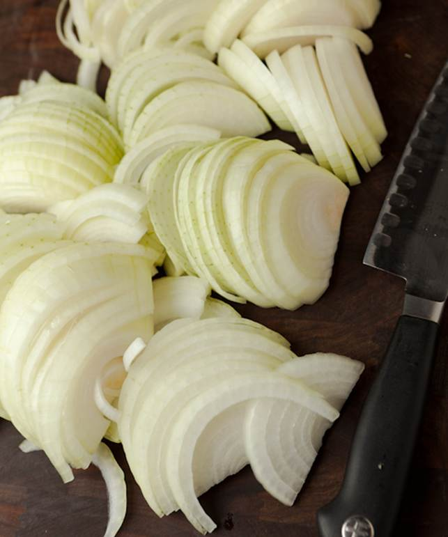 2 white onions, sliced into thin half-moons