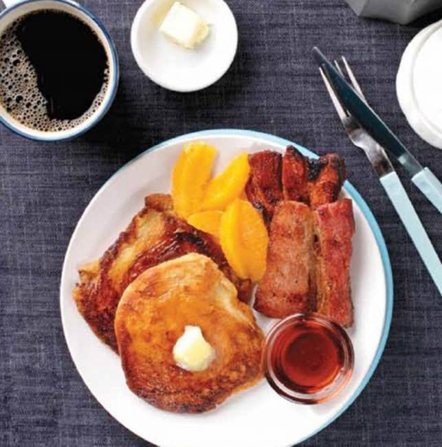Pandesal French Toast With Smoked Pork Belly Bacon