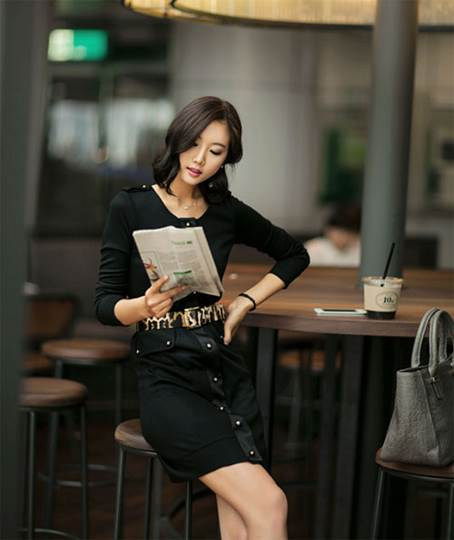 Dresses are designed with dark colors, line of buttons, round neck, fake pocket on both sides, and wide belt to make stress for waist.