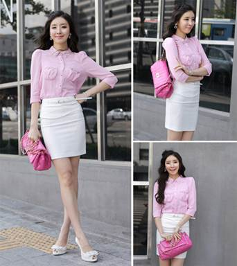 Light pink is just for joyful and cute girl. In addition, girls who have swarthy skin should remember that it is not suitable for them.