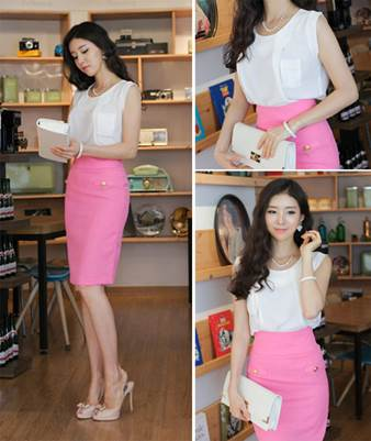 However, that is also very sexy if you mix a light pink pencil skirt with thin chiffon blouse.