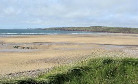 The grassy dunes at Freshwater West make an interesting addition to any image