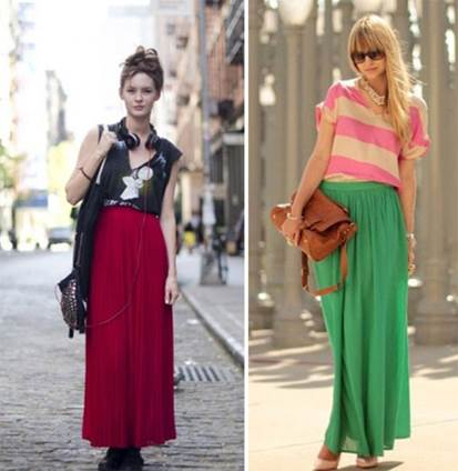 Maxi with plain material helps girls prominent on streets.