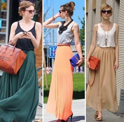 Going for a walk at weekend, the girls can combine maxi with sleeveless T-shirt.