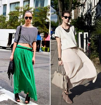 Maxi becomes more stylish when mixed with average-long T-shirt or tied-lap T-shirt.