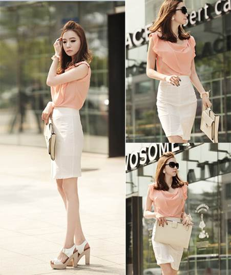 Be pure in coral pink blouse mixed with white skirt. White accessories look so stylish.