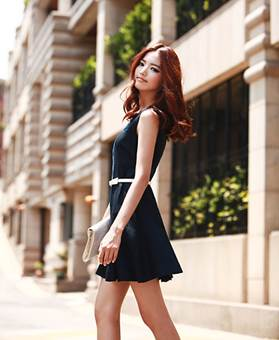 Classic with elegant navy blue pleated dress