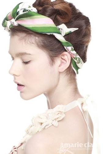 Feminine hairstyle with kerchief