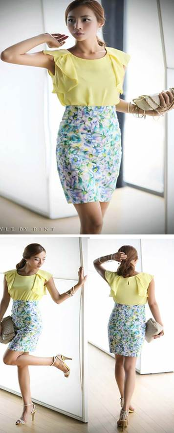 Flower skirts with bright color are really not appropriate to women who have big hips and tights.