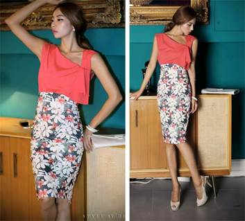 Because flower pencil skirt itself is very highlight, you should not select too outstanding shirt.