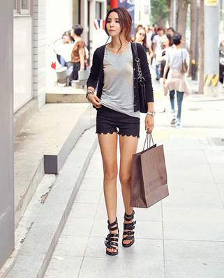 Shorts and T-shirt look stronger with the classical dark cardigan.