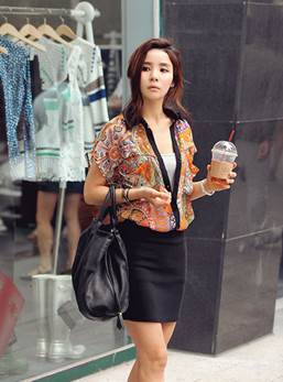 You can wear flower shirt tucked in tight skirt to walk around or go to work.