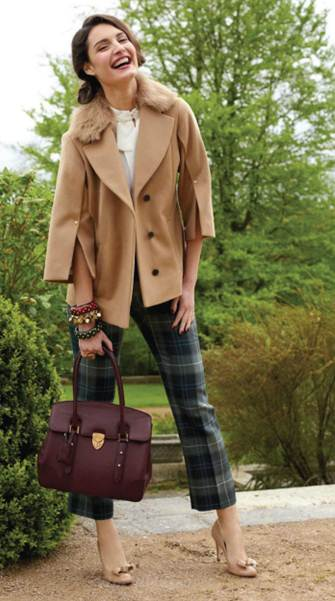 Description: Give a classic camel cape a country edge with fun tartan trousers, then finish off the look with ladylike accessories.
