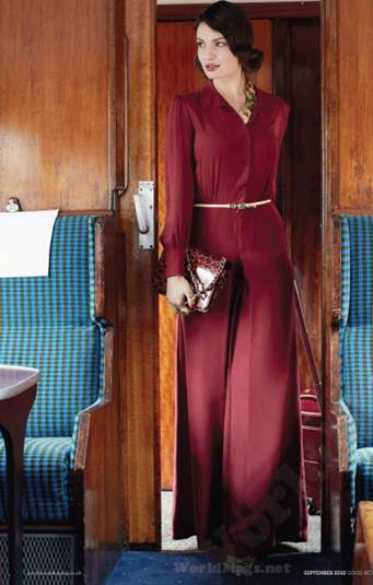 Description: Express your inner Hollywood starlet with a demure jumpsuit in racy ruby. The long sleeves and wide legs are feminine and flattering.