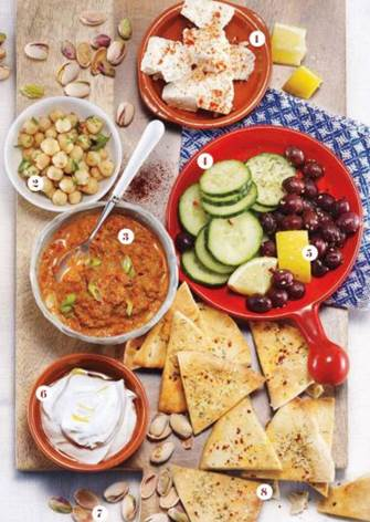 Description: Enjoy the best of middle eastern flavors such as olives, feta and a tasty dip.
