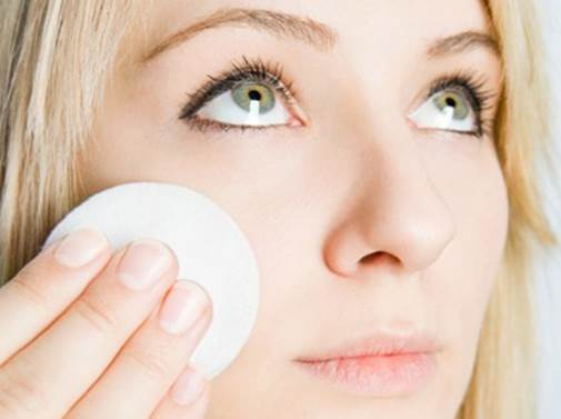 Description: Apply facial toner with a cotton pad