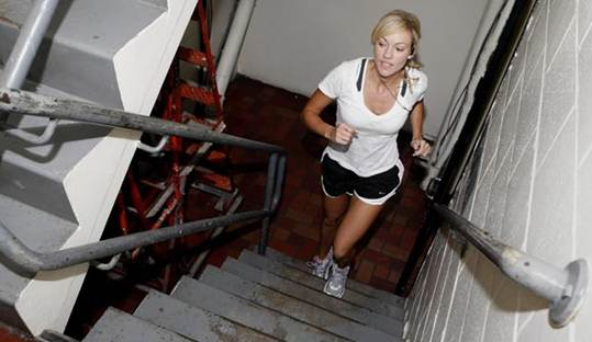 Description: Running up and down stairs is a great way to exercise.
