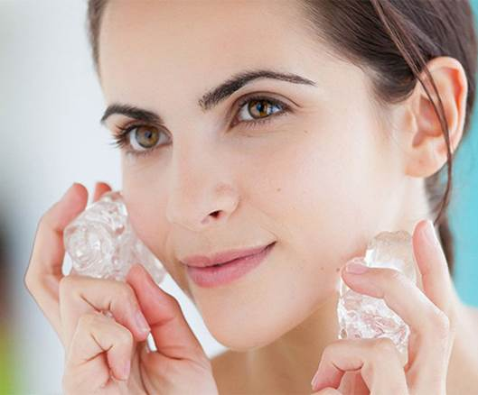 Description: Use a medium sized ice cube and rub it on your face and neck in different directions. Then clean your face by a soft towel and apply your daily face lotion.