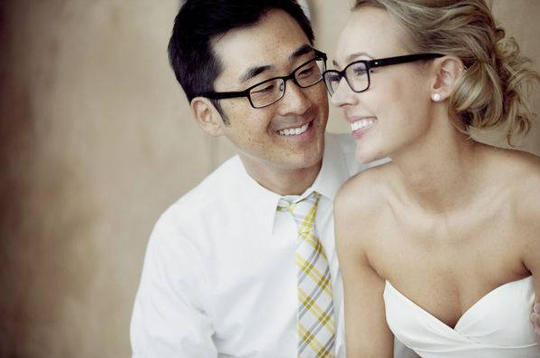 Description: You can still be a radiant bride with the nearsighted glasses