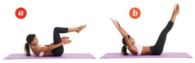 Description: Lie face up with knees bent over your hips, heels together and toes pointed.