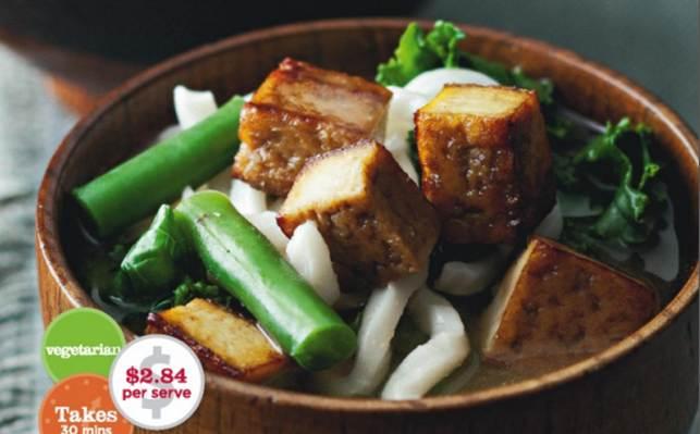 Miso, Kale And Crispy Tofu Soup